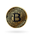 realistic golden bitcoin vector image