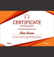 red and orange certificate or diploma template vector image vector image