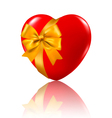 red heart with a ribbons vector image vector image