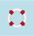 red lifebuoy on a blue background vector image vector image