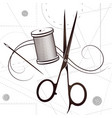 scissors and needle with thread silhouette vector image vector image