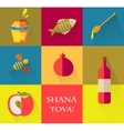 Set of icons for Jewish holiday Rosh Hashana Happy vector image vector image