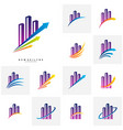 set of modern city logo concepts corporate vector image vector image