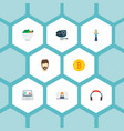 set of modern icons flat style symbols with selfie vector image