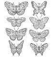 set of various forms butterflies vector image vector image