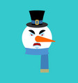 snowman angry emotion avatar snowman evil emoji vector image