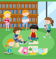students reading books in library vector image