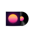 synthwave vaporwave retrowave music lp vinyl disc vector image