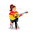 teenage girl playing an acoustic guitar cartoon vector image vector image