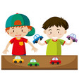 two boys playing with cars vector image vector image