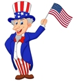 Uncle Sam cartoon holding American flag vector image vector image