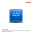 waves icon - 3d blue button vector image