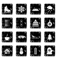 Winter set icons grunge style vector image vector image