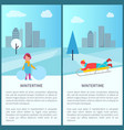 wintertime childish activities vector image vector image