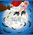 witch flying on a broomstick banner with full moon vector image vector image