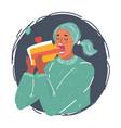 woman eat big peace cake vector image vector image