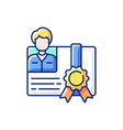 workshop certificate rgb color icon vector image