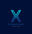 x letter logo science technology connected dots vector image vector image