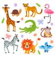 cute jungle and safari animals set for kids vector image