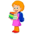 Cartoon girl bring pile of books vector image