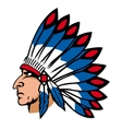 Native american people with feathers vector image