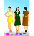 three young model women vector image
