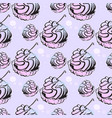 cupcake with cherry pattern vector image