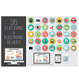 35 flat web icons and 4 electronic devices vector image vector image