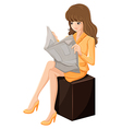 A businesswoman reading a newspaper vector image vector image