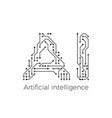 artificial intelligence concept circuit board ai vector image