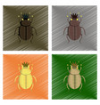 assembly flat shading style bug scarab vector image vector image