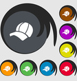 Ball cap icon sign Symbols on eight colored vector image vector image