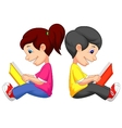 Cartoon Boy and girl reading book vector image vector image