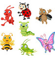 cartoon funny insect collection set vector image vector image