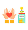 charity and palms and heart vector image