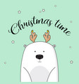 christmas invitation with polar bear on new vector image
