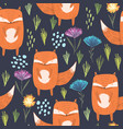 dark pattern with bright foxes and flowers vector image vector image