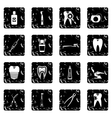 Dental care set icons grunge style vector image vector image