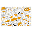 fast food doodle set vector image vector image