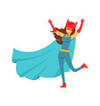 female superhero in comics costume with cape and vector image vector image
