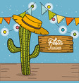 festa junina with cactus and hat decorative design vector image vector image