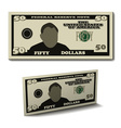 fifty dollar paper bill banknote vector image vector image