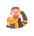 firefighter in protective suit holding safety vector image vector image