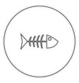 fish sceleton black icon outline in circle image vector image vector image