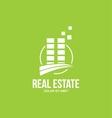 Flat real estate green building logo vector image vector image