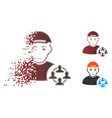 fractured dot halftone social networker icon with vector image vector image