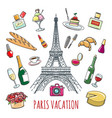 french country vacation doodle elements vector image