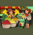 fruit seller at the farmers market with a customer vector image vector image