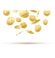 golden coins falling on white 3d gold money vector image