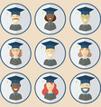 Graduation Man and Women Education Icon Set vector image vector image